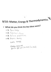 Matte energy & thermodynamics key ideas