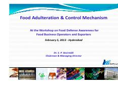 Food Adulteration & Control Mechanism 05 Feb 2013