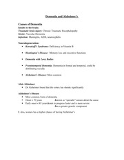 PSYCH 207 Dementia and Alzheimer's Notes