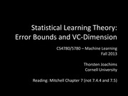 19 Statistical Learning Theory - Error Bounds and VC-Dimension