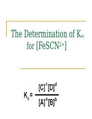 The Determination of Keq for FeSCN2