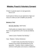 14 Mistake, Fraud and Voluntary Consent.doc