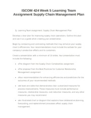 ISCOM 424 Week 5 Learning Team Assignment Supply Chain Management Plan
