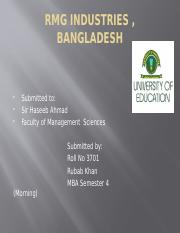Analysis of RMG  Industry, Bangladesh
