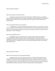 Managment Take away questions Chapter 1,2.docx
