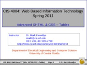 Advanced XHTML & CSS - Tables And Forms