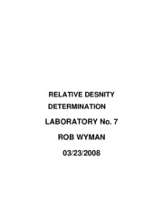 RELATIVE DENSITY DETERMINATION