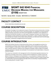 Concourse | MGMT 640 9040 Financial Decision Making for Managers (2158)