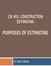 491Purposes of Estimating (S16)
