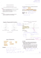 Sections 1.5&1.6 Exponential Functions