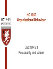HC1052 Lecture 03 Personality and Values