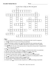 Scientific Method Crossword Pdf Use The Clues To Solve The Corssword Find The Solutions On The Next Page 1 2 3 4 5 6 7 Across Down 3 The Steps Used Course Hero