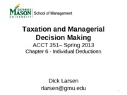 ACCT 351 Chapter 6 - Individual Deductions 2013