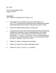 PHYS 381 Assignment 3 due Oct 10 2014