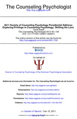 Israel 2012 Counseling Psychology and Privilege