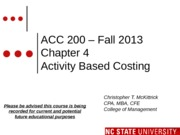 #08 CH4 MODLE ACC200 ActivityBasedCosting Fall 2013