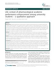 D3-Life context of pharmacological academic performance enhancement among university students
