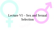 Lecture VI - Sex and Sexual Selection