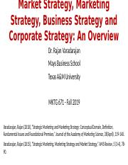 MKTG 671 Fall 2019 Market Strategy Marketing Strategy Business Strategy and Corporate Strategy An Ov