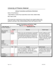 ENG125 Literary Conventions and Devices Worksheet