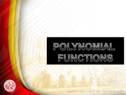 L8 Polynomial Functions