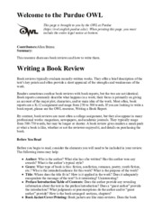 Writing a book review - Purdue OWL