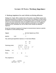 Lecture 20 Notes Warburg Impedance