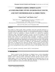 Mostly Used Understanding spirituality. An exploratory study on Romanian youth and new methodologica