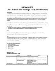Lead and manage team effectiveness - BSBWOR502.docx