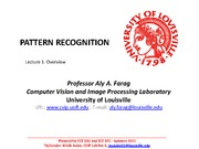 Farag - Pattern Recognition -  Lecture 1 Overview