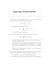 lagrange polynomial notes