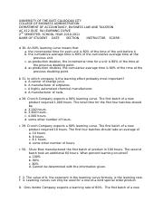 AC 412 QUIZ 9A LEARNING CURVE