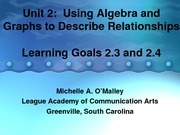 Algebra 1 Unit 2 Learning Goals 2.3 and 2.4 PowerPoint