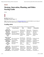 Strategy, Innovation, Planning, and Ethics Scoring Guide