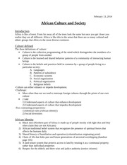 GY Lecture Notes African Culture and Society
