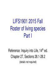 LIFS1901 2015 Fall Roster of Living Species I