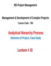 MSPM 706-DMCP Lecture 15 (AHP Case Study).ppt