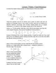 Lecture 7 Notes Fixed Distances