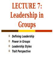 Lecture 7 - Leadership in Groups