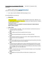 Introduction à la psychologie PSYC 2510 Mercredi le 14 septembre 2016