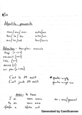 Class 1+2 Notes on Adjectives