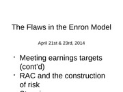 Day 35-36 The Flaws in the Enron Model 21-23 Apr 2014