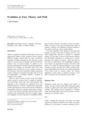Evolution as fact theory and path