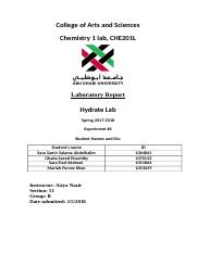 HYDRATE LAB CHEMISTRY 1 LAB REPORT 4.docx
