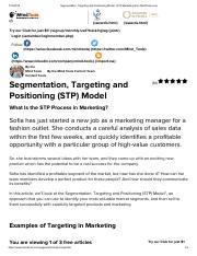 Stp Modelpdf Segmentation Targeting And Positioning Model