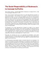 [012514-Session3] The Social Responsibility of Business is to Increase its Profits