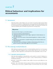 8. Chapter 7 - Ethical behaviour and implications for accountants