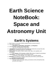 Earth Science NoteBook: Space and Astronomy Unit