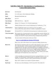 Math 353 - Intro to Combinatorics I Info Sheet