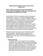 Social Studies G11 Class Notes Causes for Canadian Great Depression